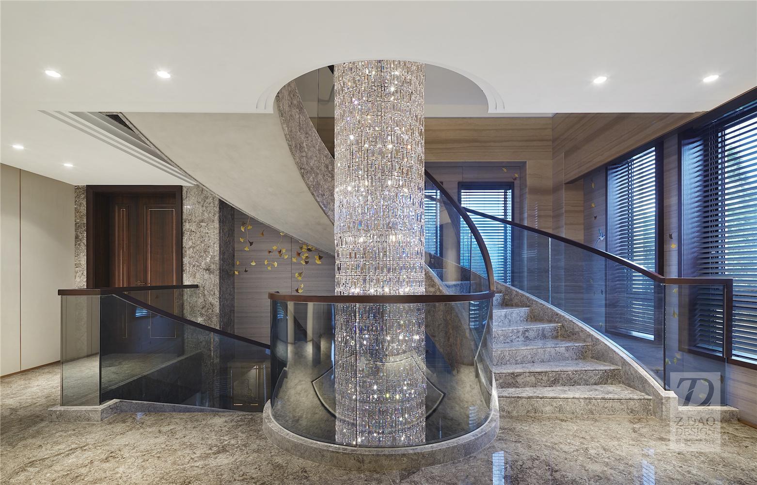 奢华新中式别墅楼梯装修效果图