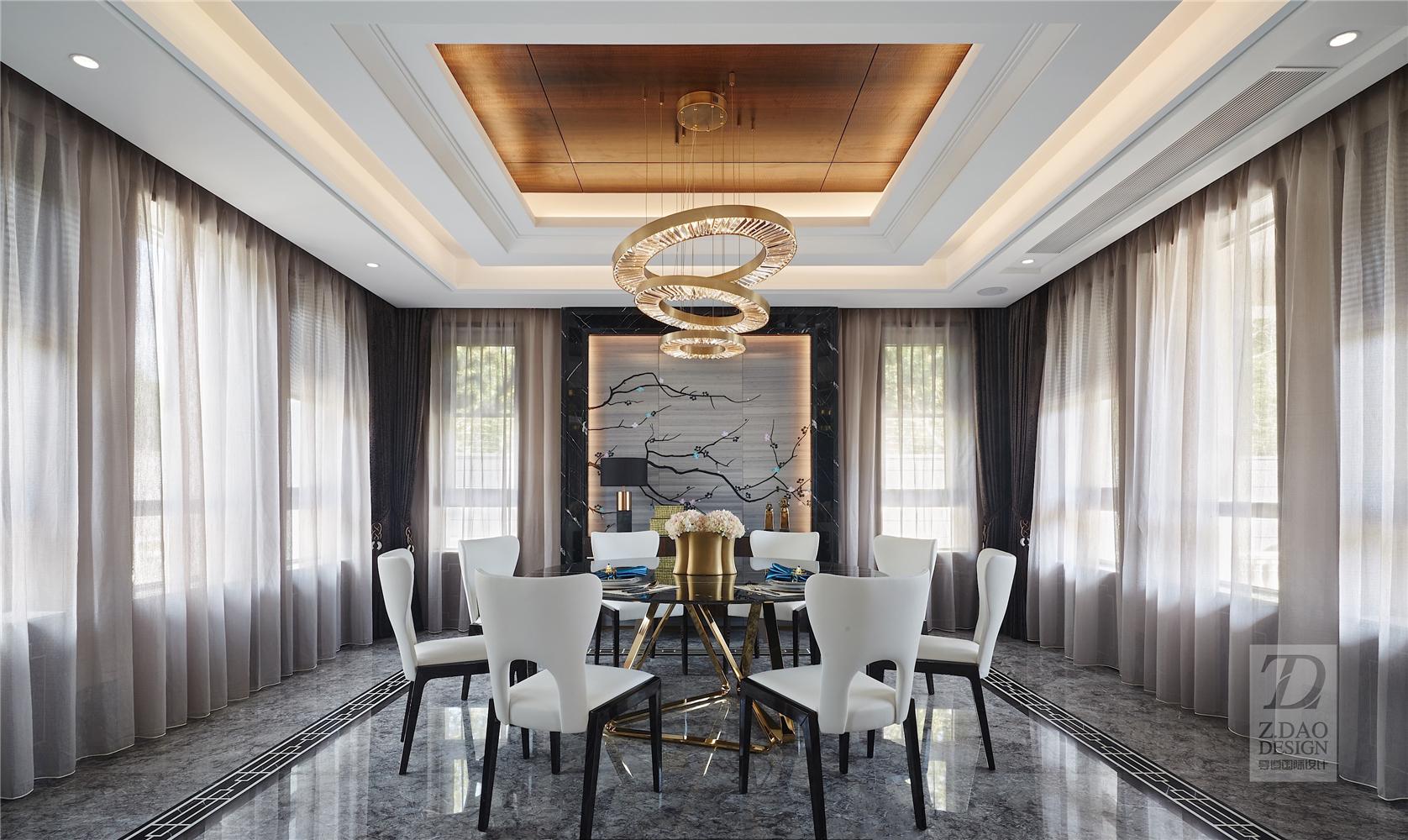 奢华新中式别墅餐厅装修效果图
