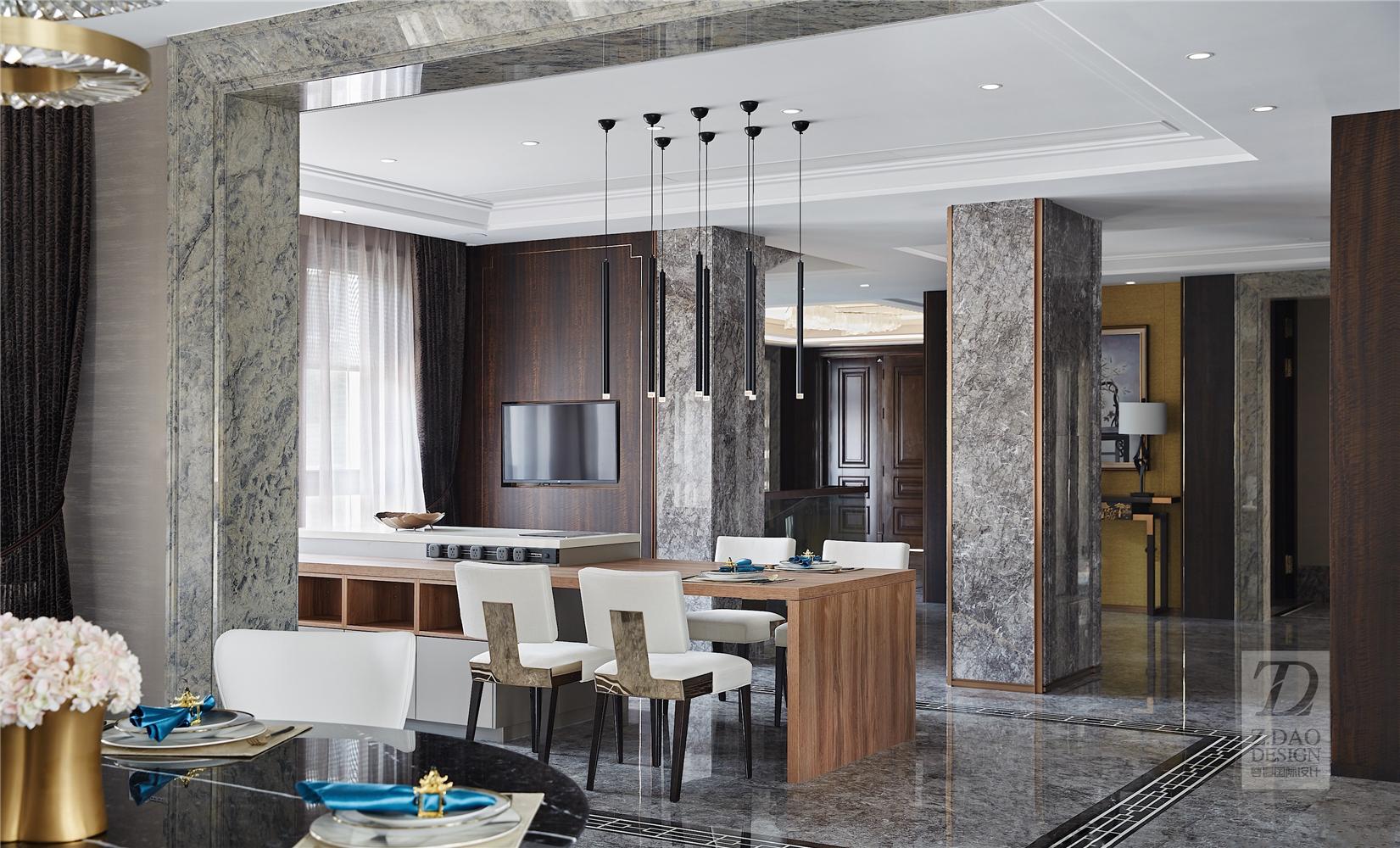 奢华新中式别墅厨房装修效果图