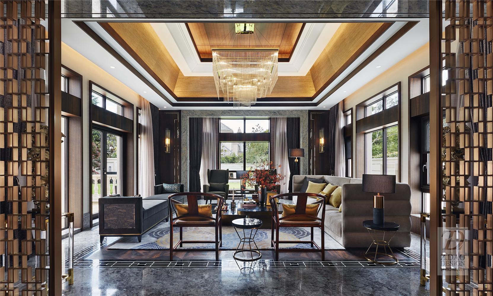 奢华新中式别墅客厅装修效果图