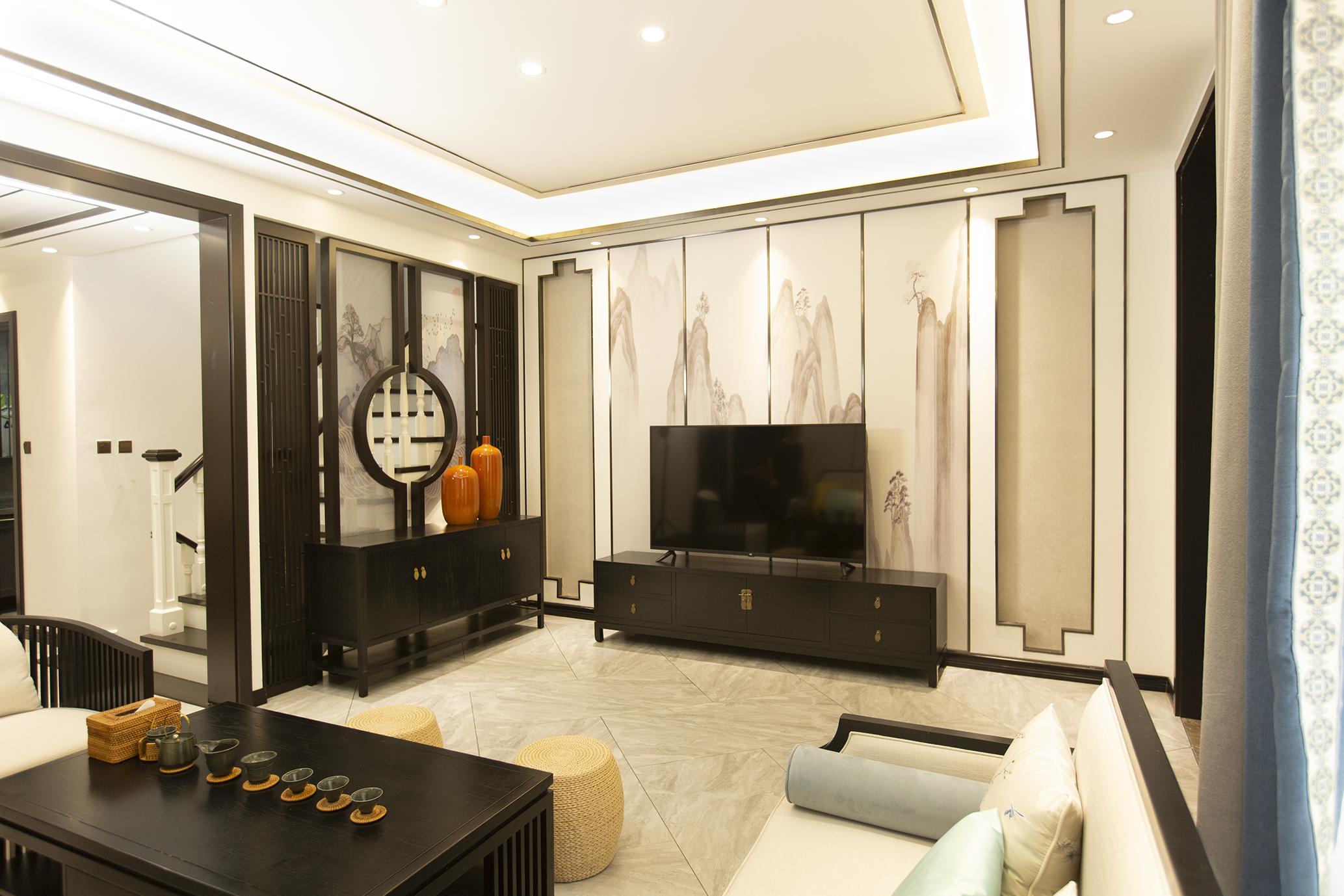 新中式风格别墅电视背景墙装修效果图