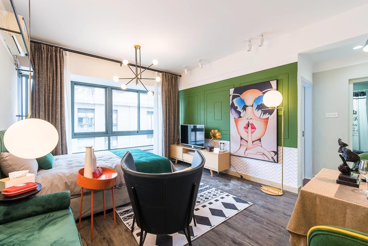 小户型复古风公寓客厅装修效果图