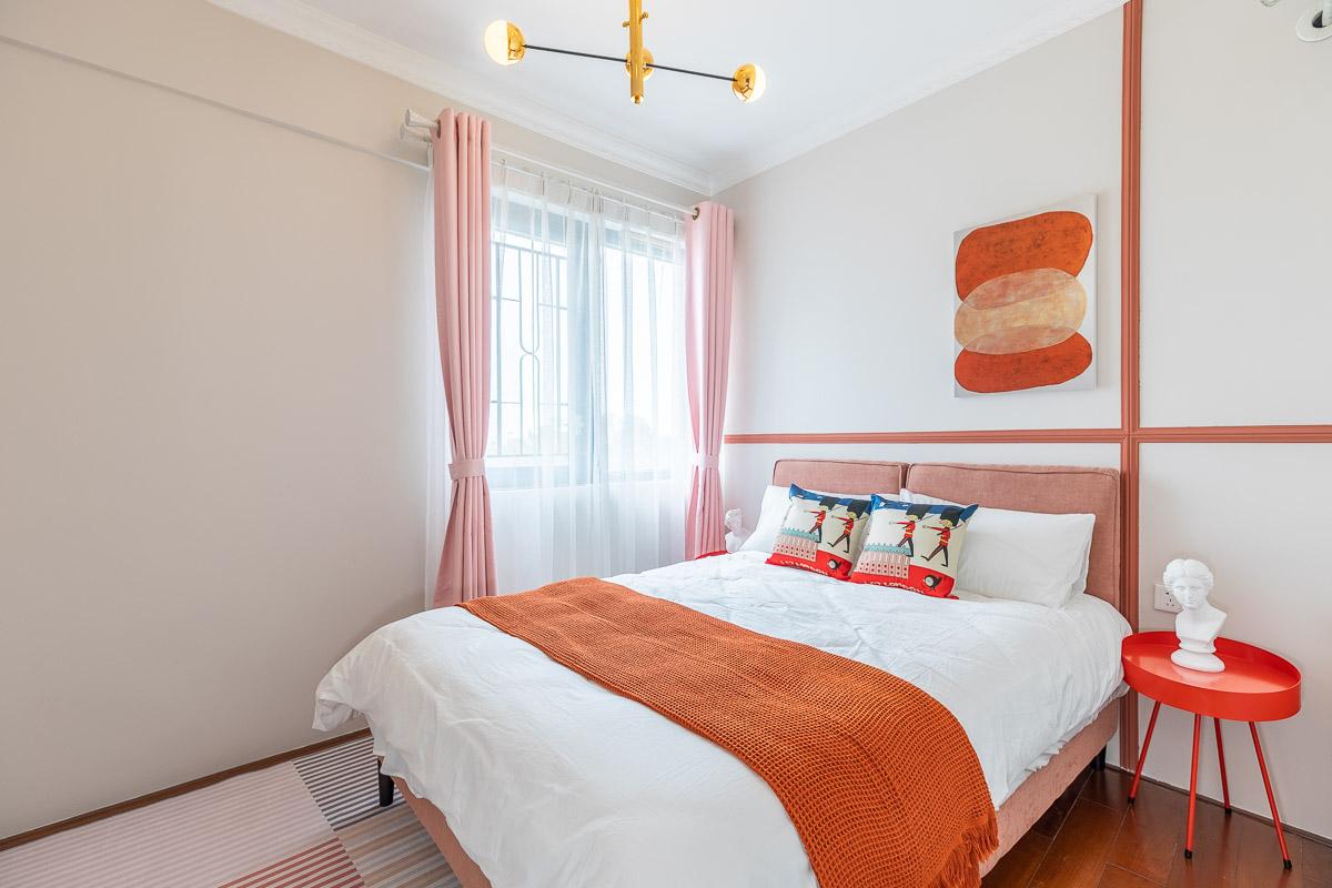 复古北欧风两居卧室装修效果图