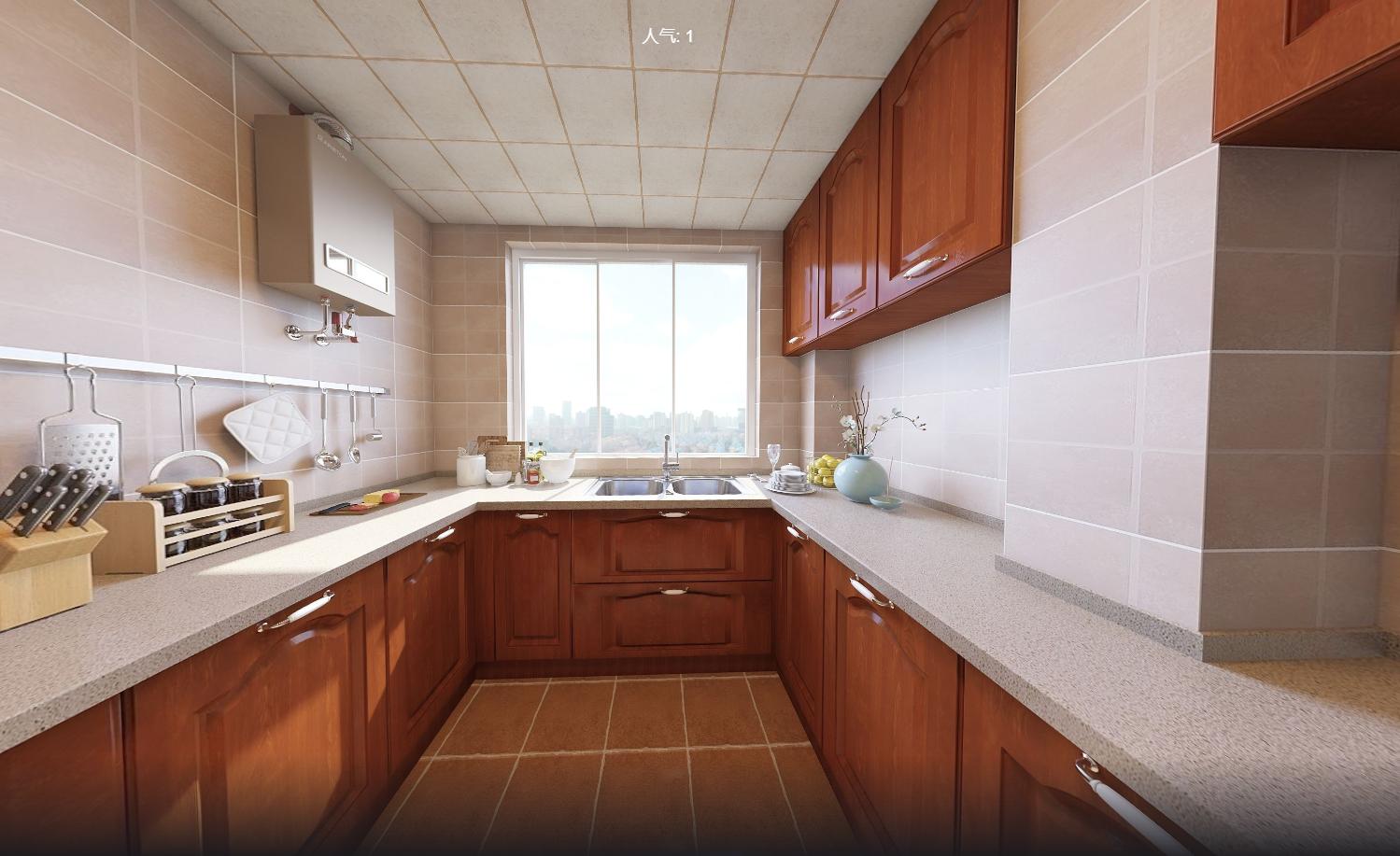 美式风三居厨房装修效果图