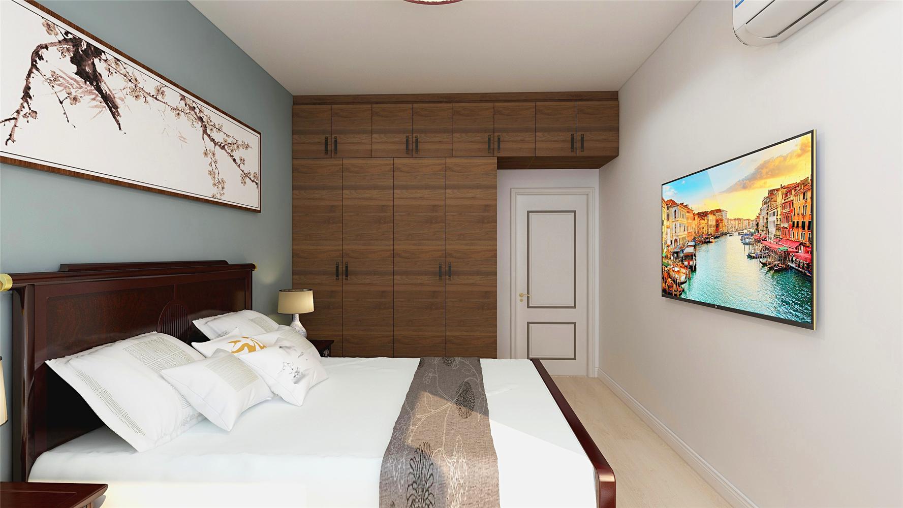 简约中式风卧室装修效果图