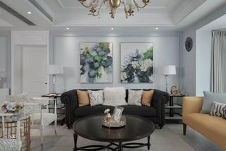 170㎡美式三居沙发背景墙装修效果图