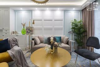80平米三居室沙发背景墙装修效果图