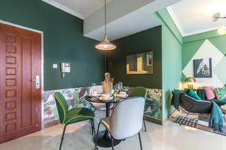 60㎡绿色两居室餐厅装修效果图