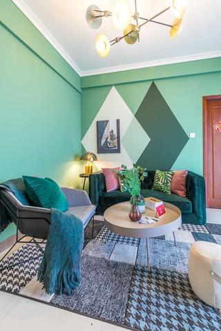 60㎡绿色两居室客厅装修效果图