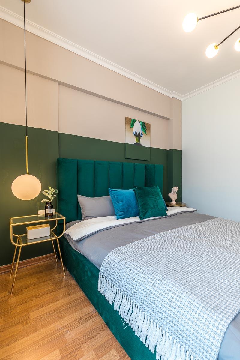 60㎡绿色两居卧室装修效果图