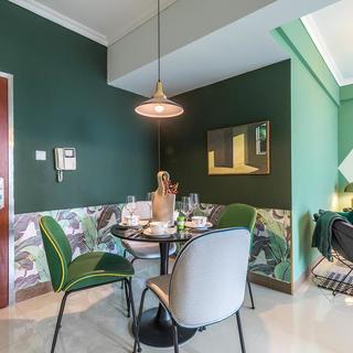 60㎡绿色两居室装修效果图