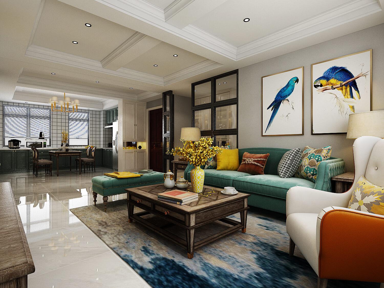 145㎡美式风格客厅装修效果图