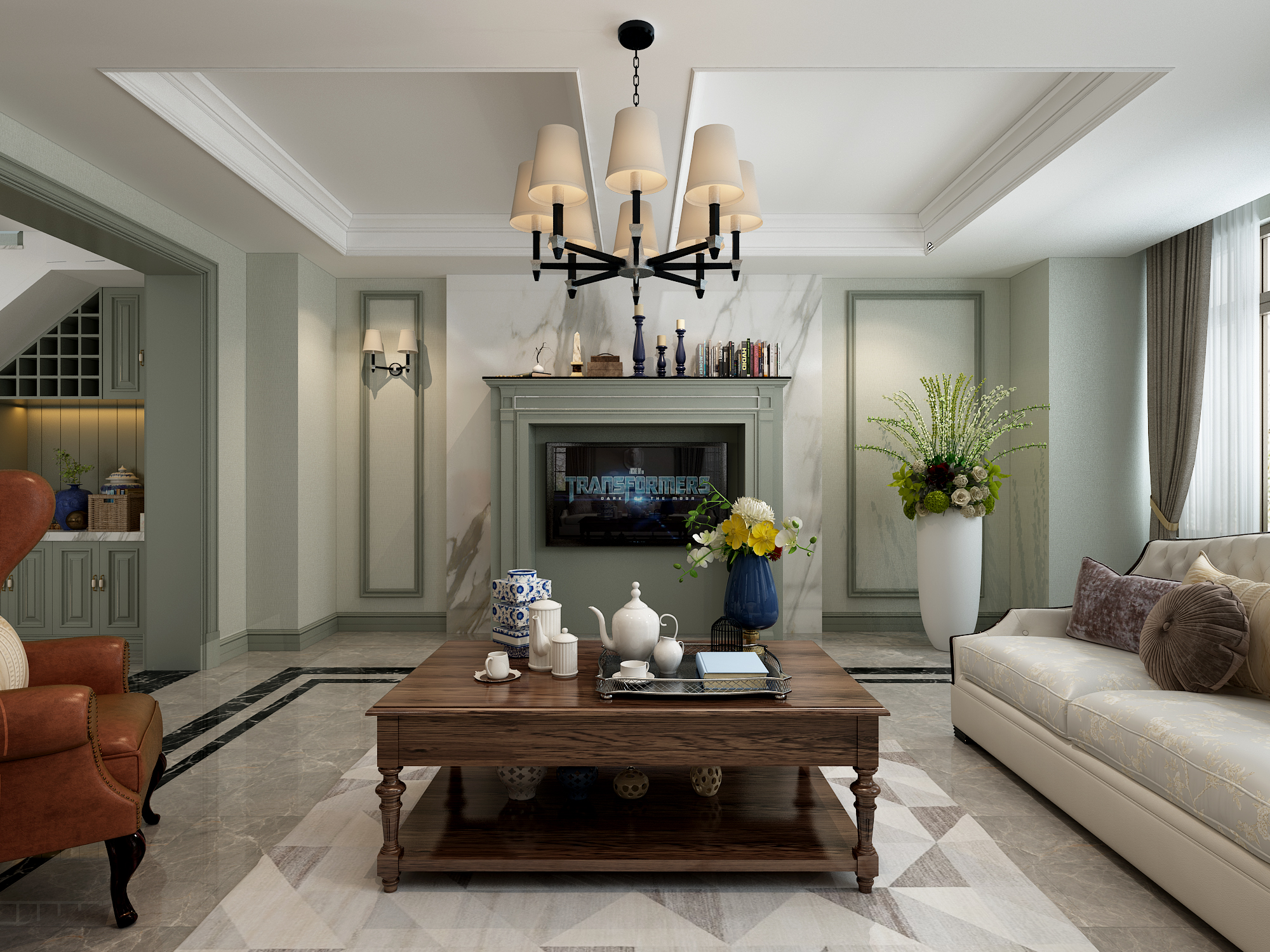美式风格别墅电视墙装修效果图