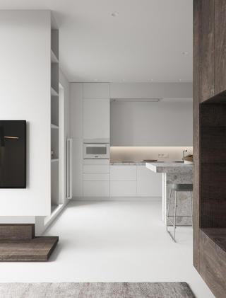 小户型极简风公寓厨房装修效果图