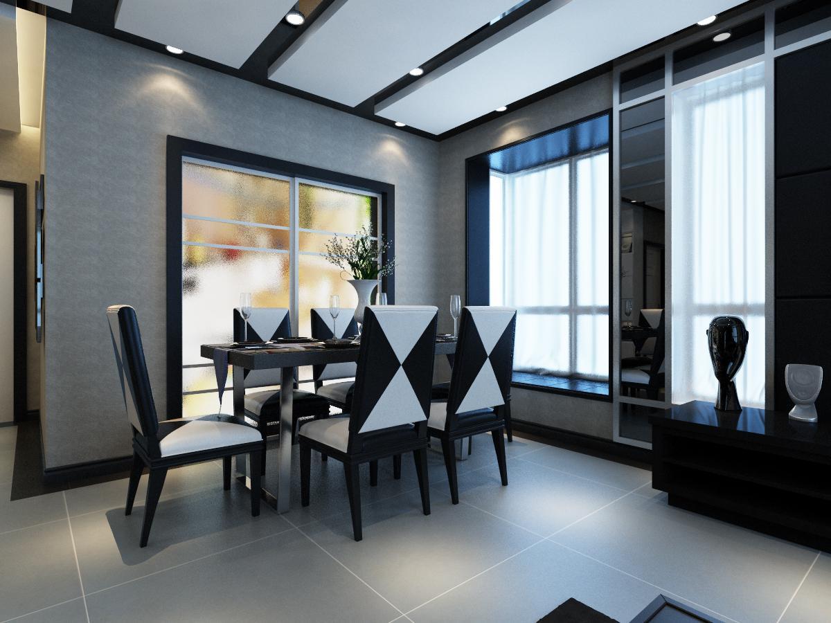 136平现代简约风餐厅装修效果图