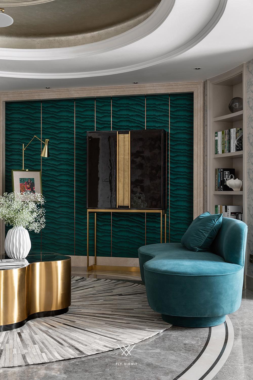 180平现代轻奢风装修弧形沙发设计