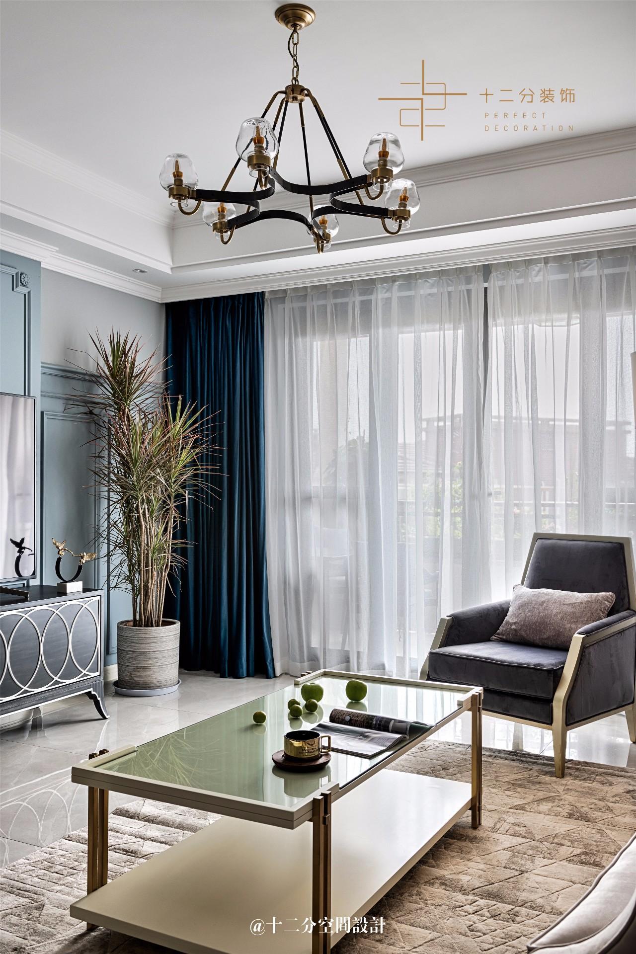 150㎡现代美式装修客厅吊灯设计