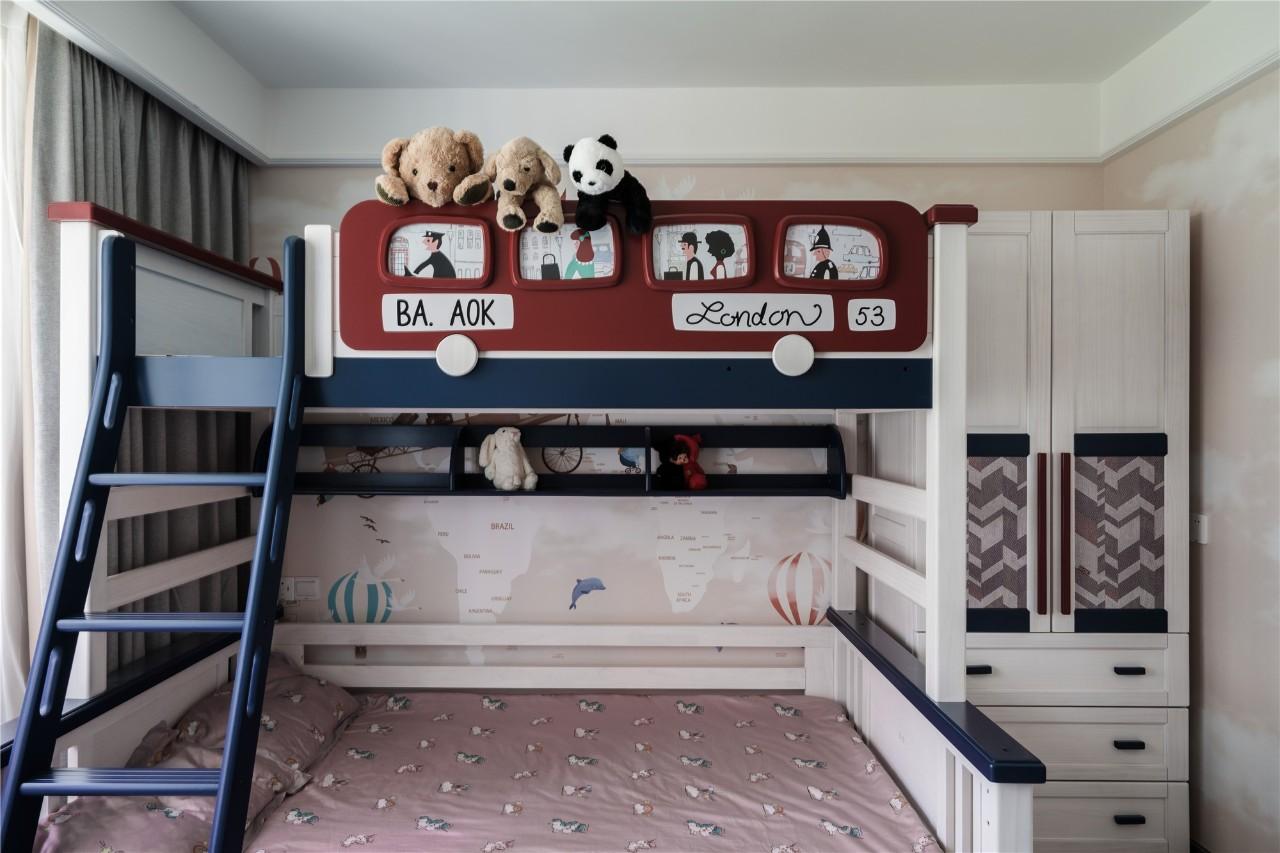 102㎡现代风格装修儿童床设计图