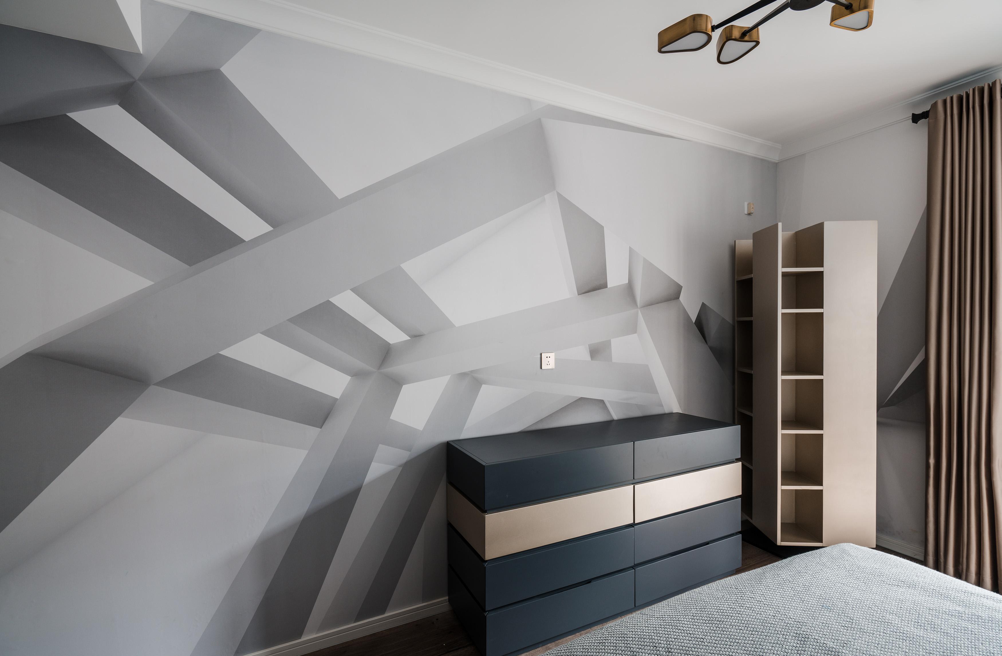 混搭风格别墅装修卧室边柜设计
