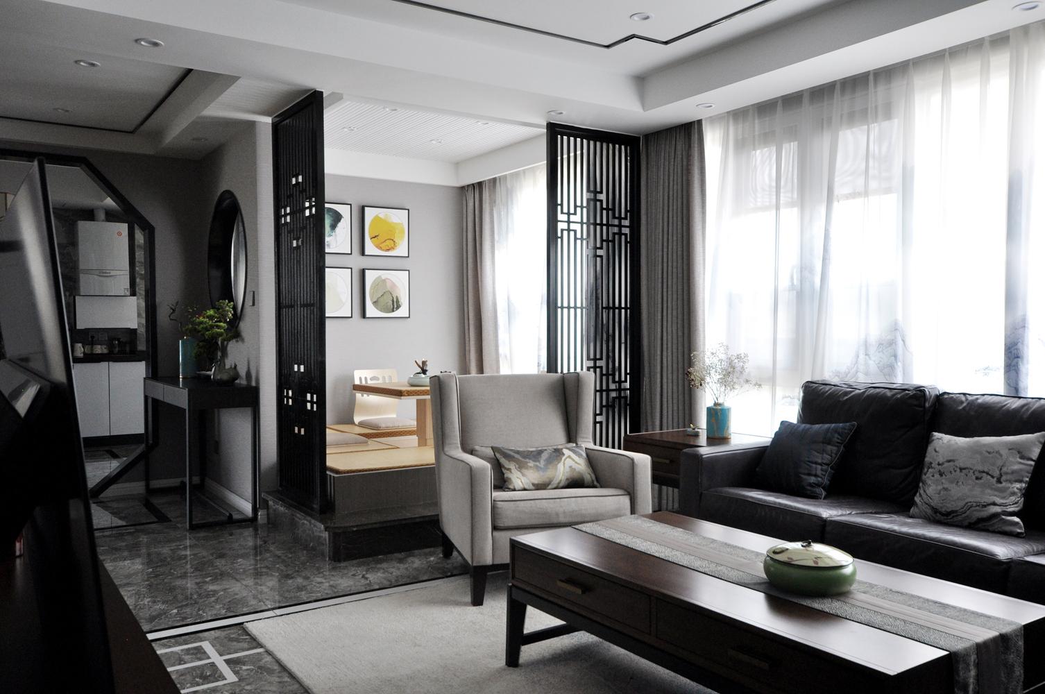 大户型新中式风格客厅榻榻米装修效果图