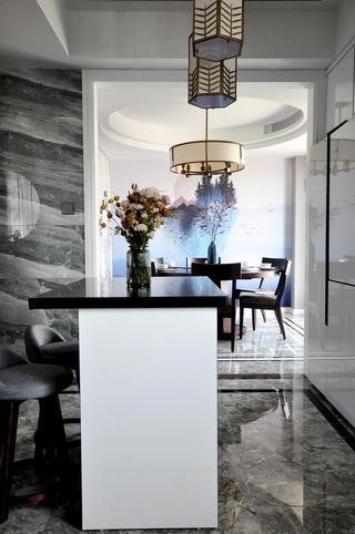 大户型新中式风格餐厅吧台装修效果图