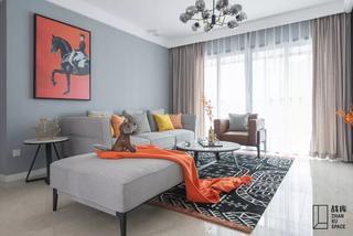 现代风格三居室客厅装修效果图