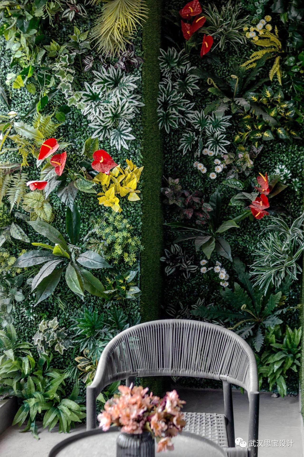 现代轻奢四居室植物墙装修效果图