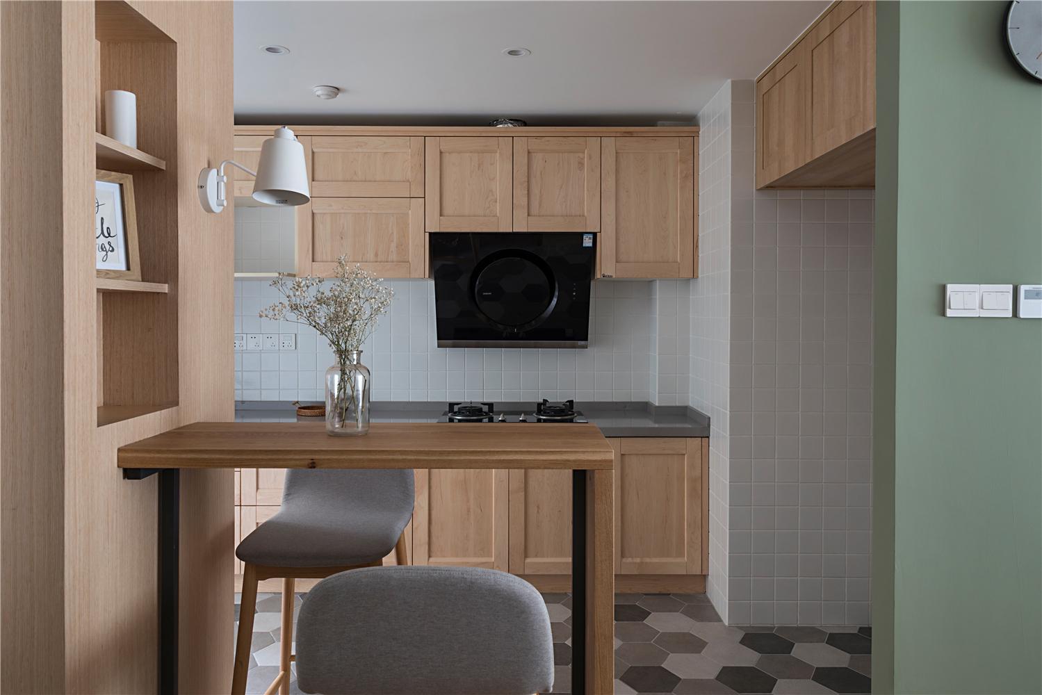 123㎡简约北欧风厨房吧台装修效果图
