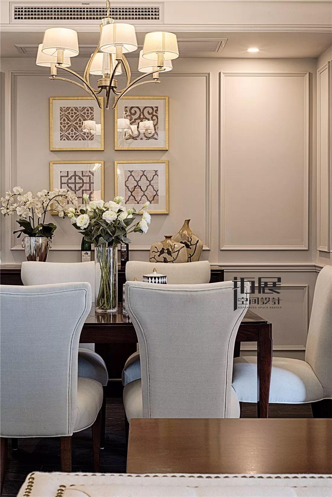 美式新古典风格餐厅背景墙装修效果图