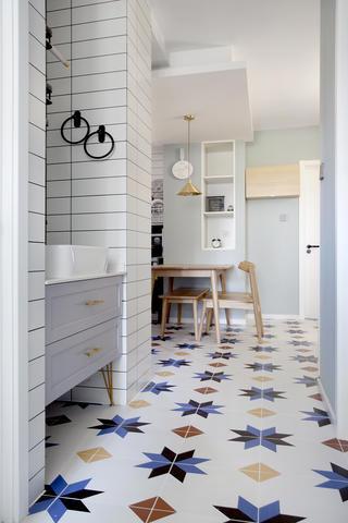 80㎡简约北欧风装修地面花砖设计