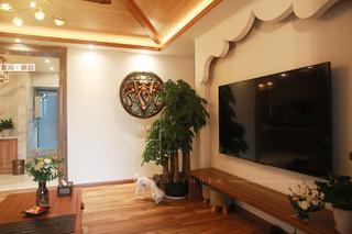 86㎡东南亚风格电视背景墙装修效果图