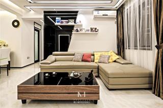 87㎡现代简约三居沙发背景墙装修效果图