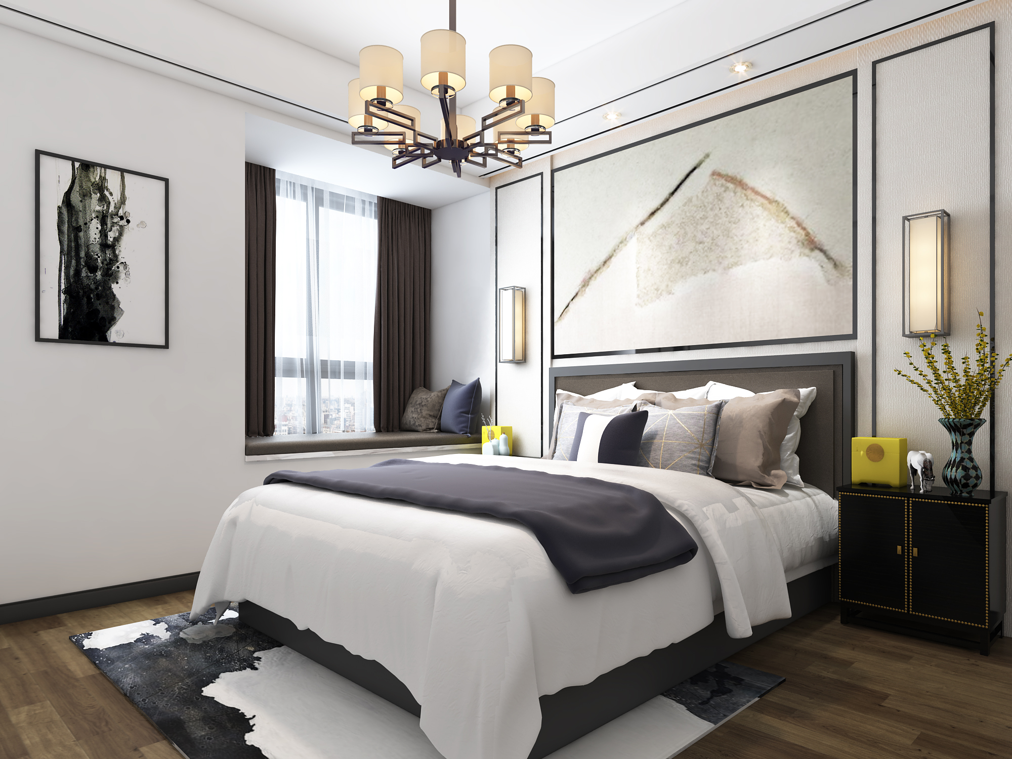 90㎡新中式风格卧室装修效果图