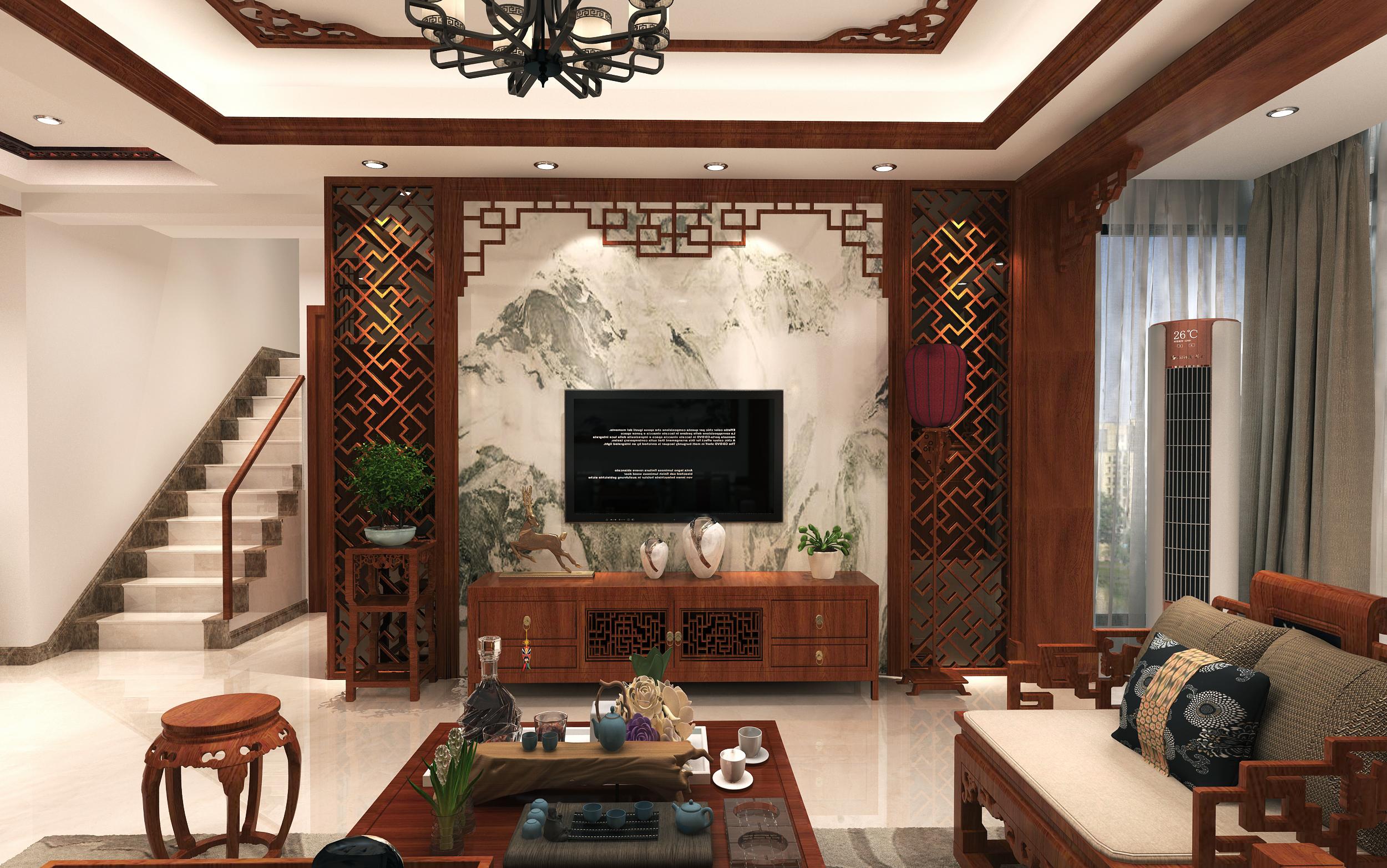 复式中式风格电视背景墙装修效果图