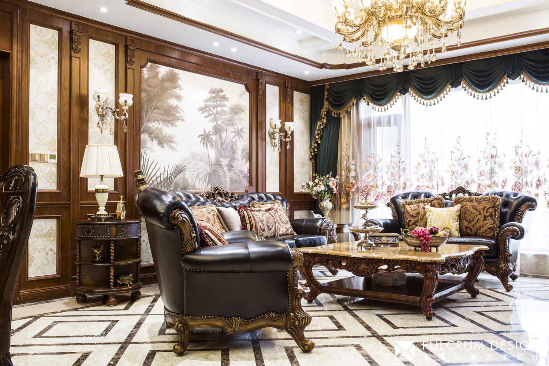 经典美式风格别墅客厅装修效果图