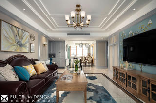 156平美式风格客厅装修效果图