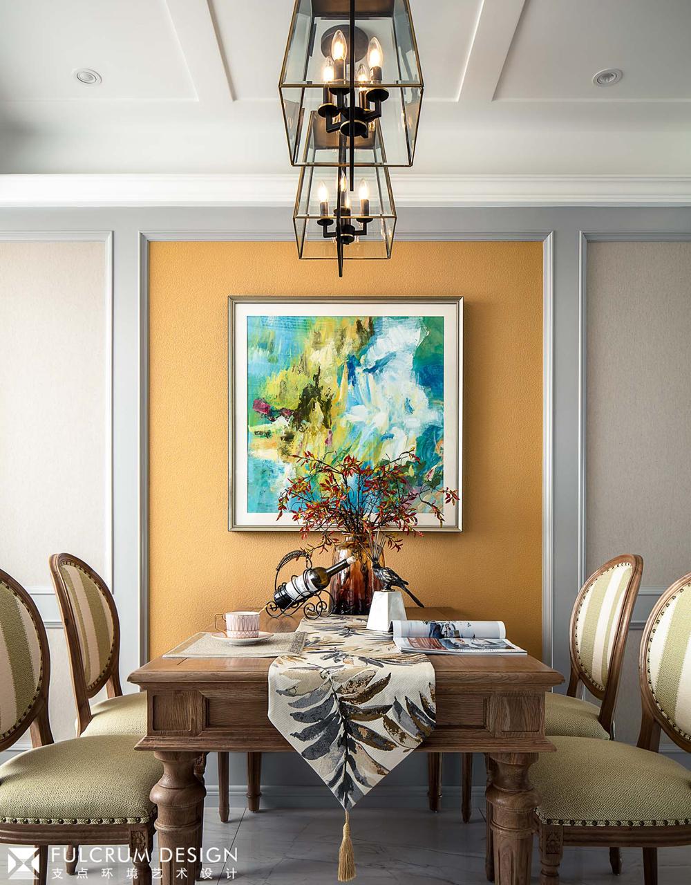 156平美式风格餐厅背景墙装修效果图