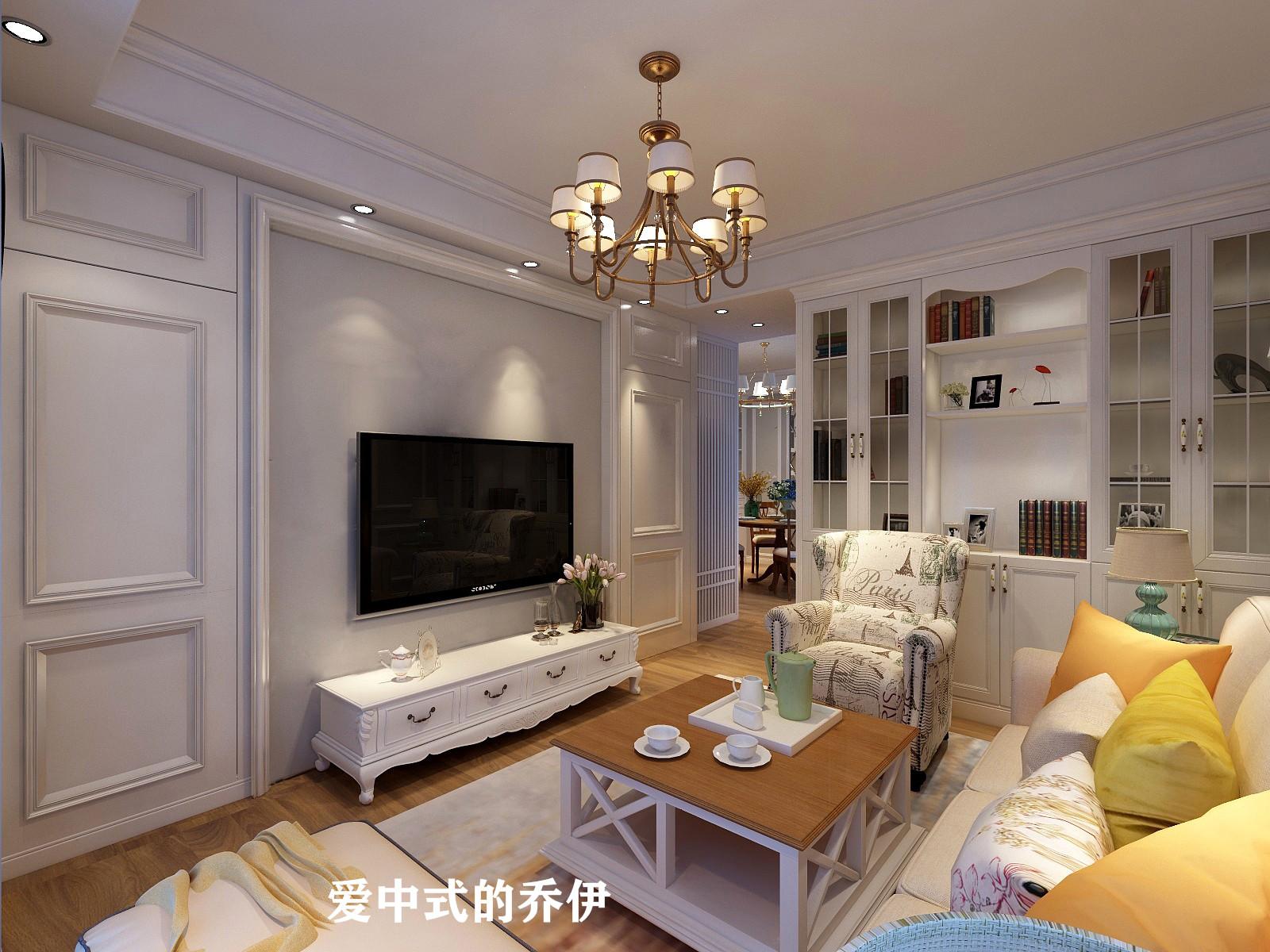 美式风格三居室电视背景墙装修效果图