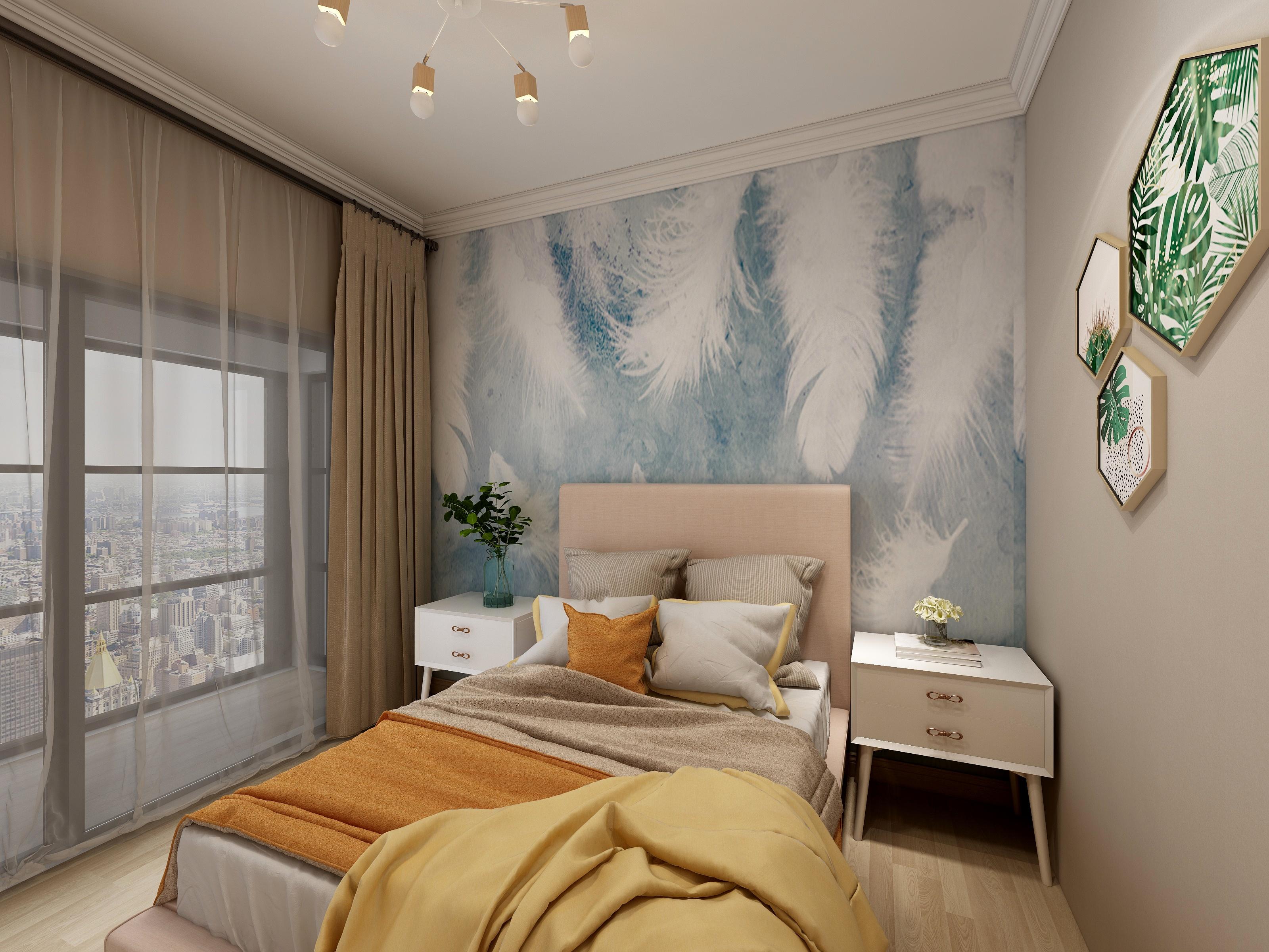 110平米现代风卧室装修效果图