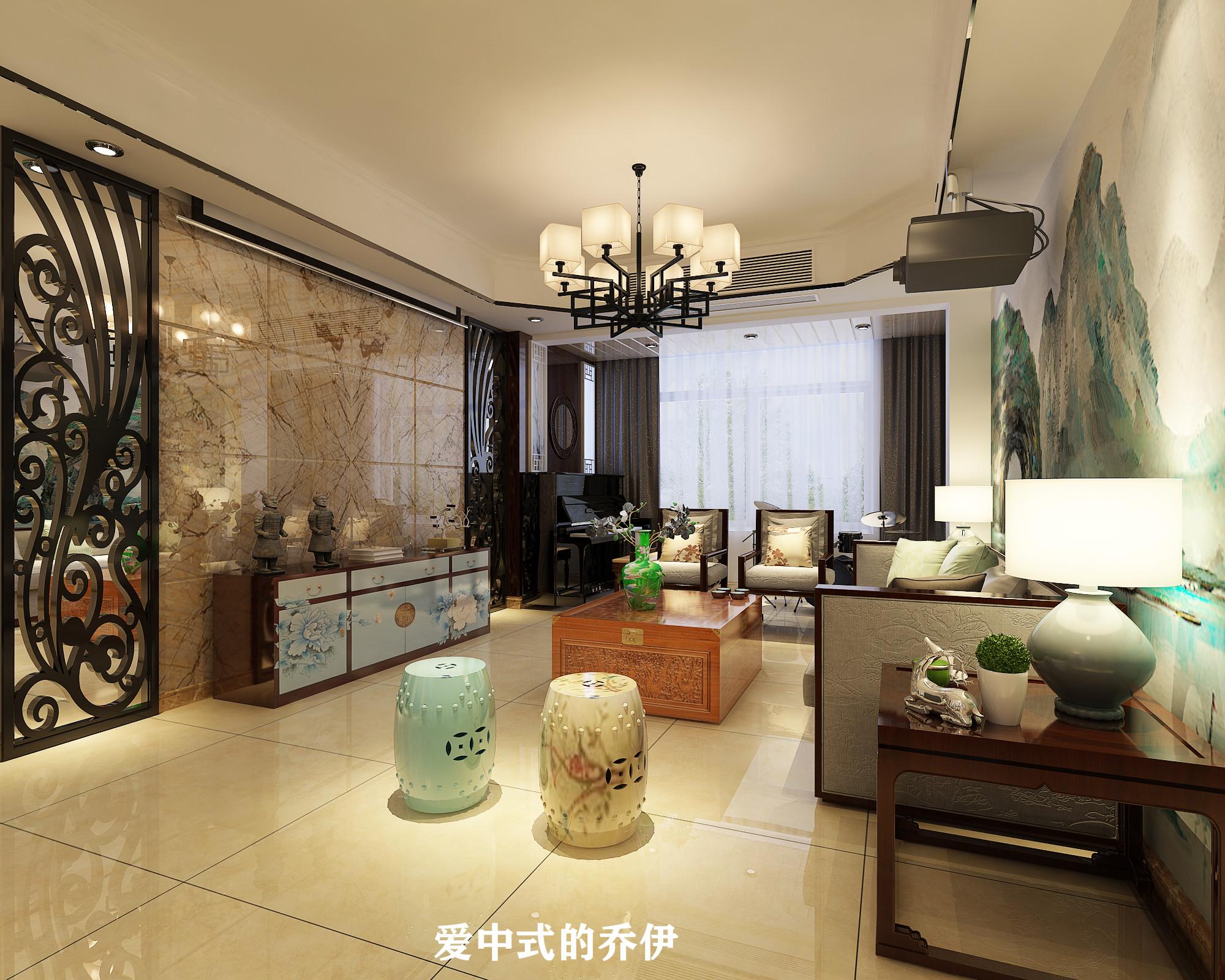 110㎡中式风格客厅装修效果图