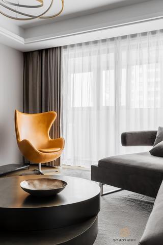 大户型现代简约风格装修黄色单椅设计