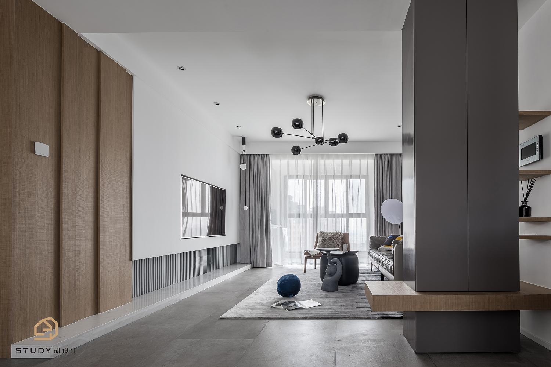 126㎡简约现代三居客厅装修效果图