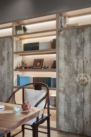 大户型现代中式风装修书柜设计图