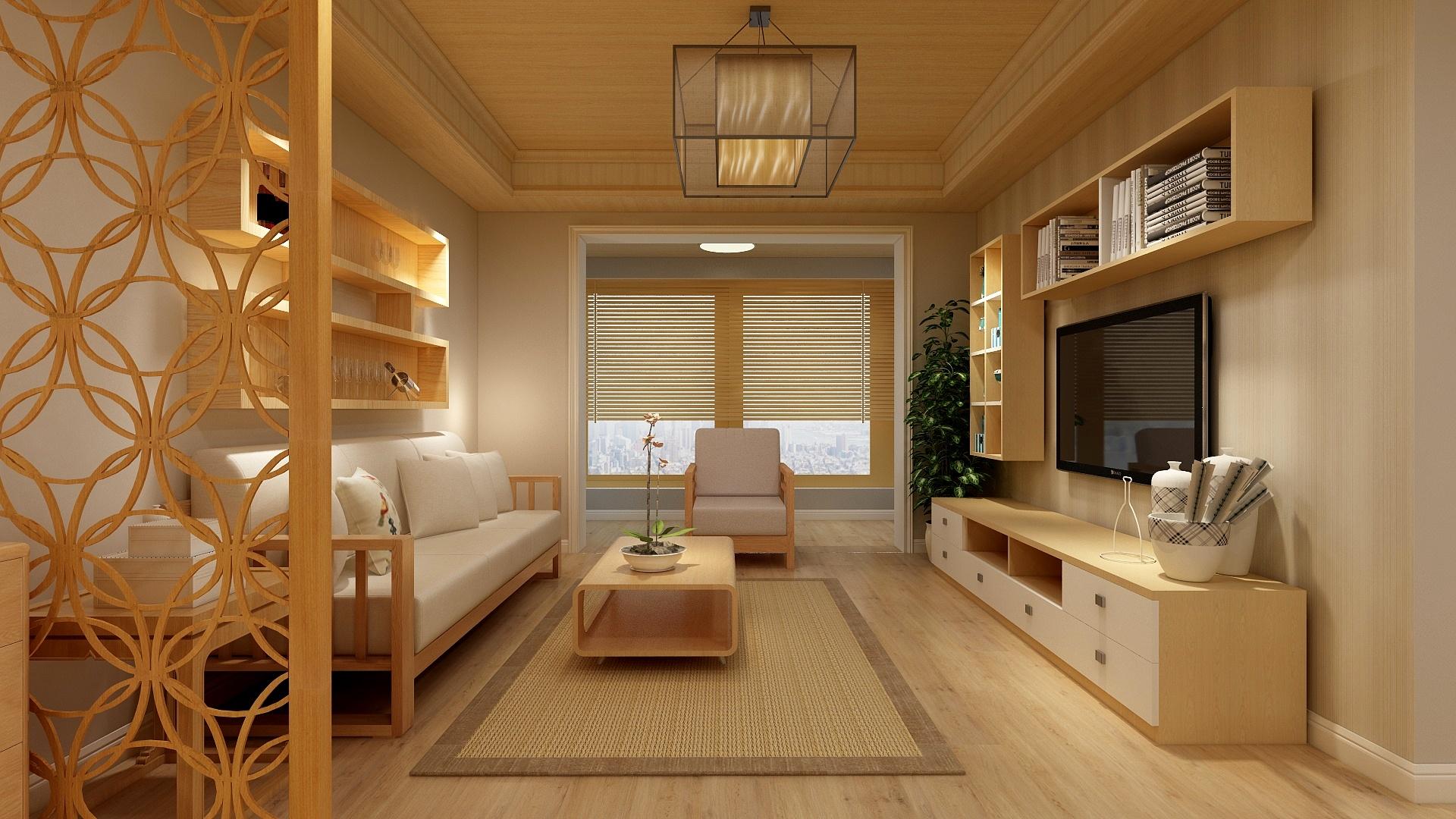 90平日式风格客厅装修效果图