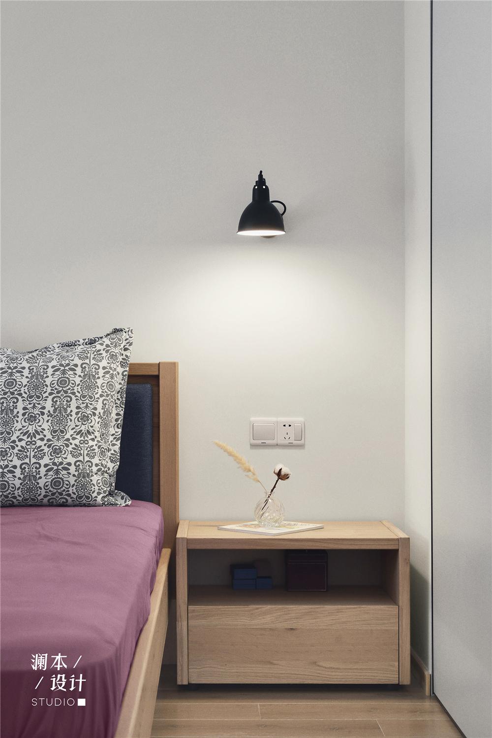 简约日式风二居装修床头柜设计图