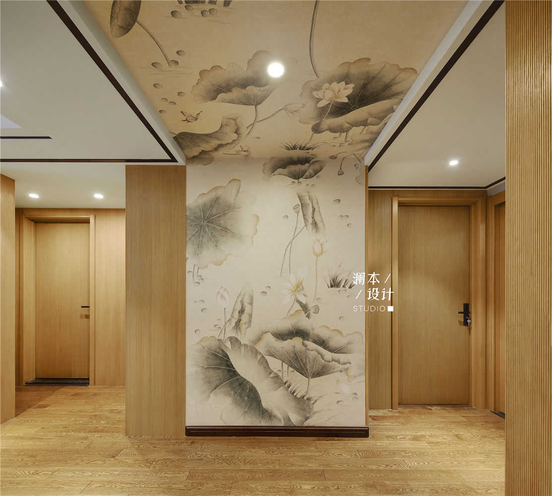 105平中式现代风玄关装修效果图