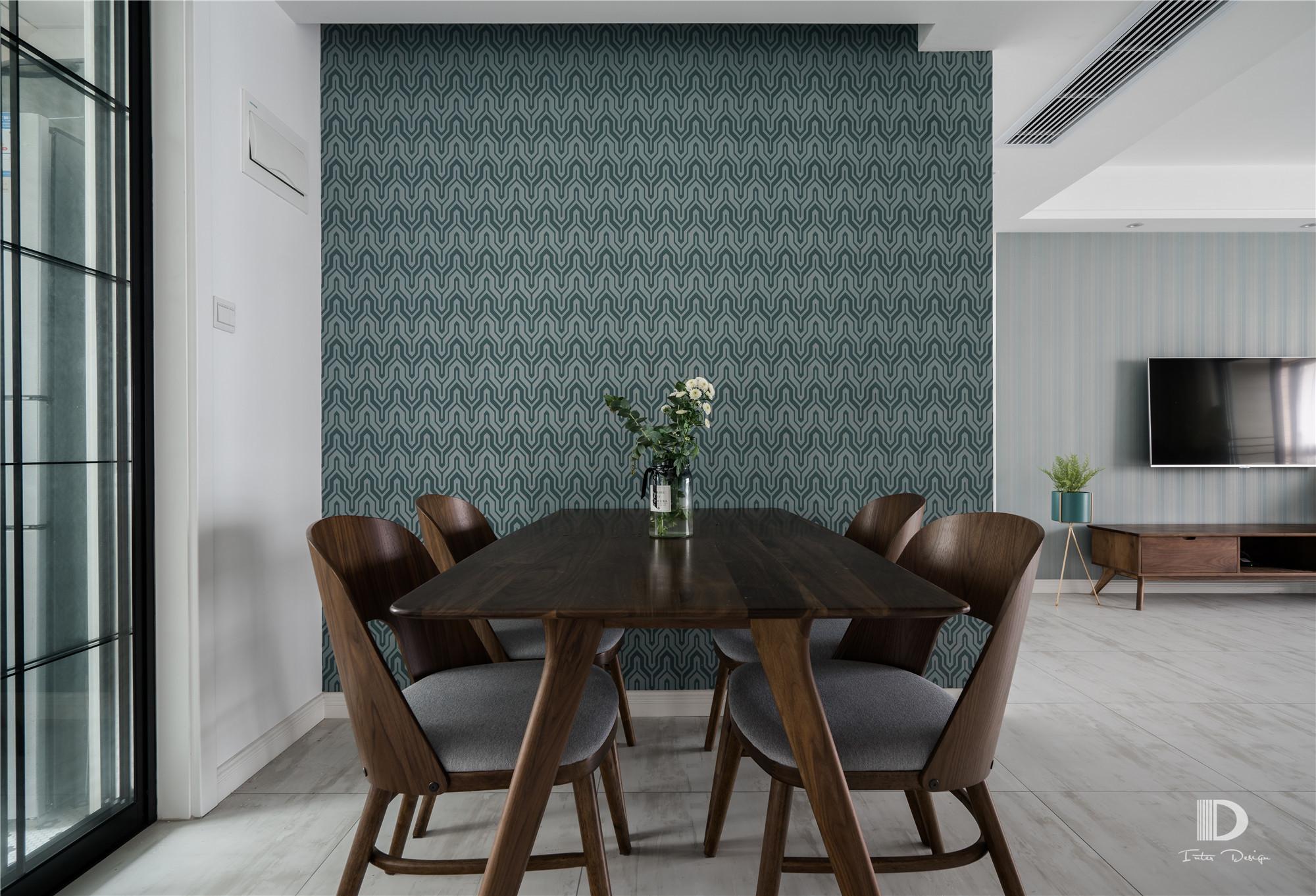 120㎡北欧风格餐厅背景墙装修效果图