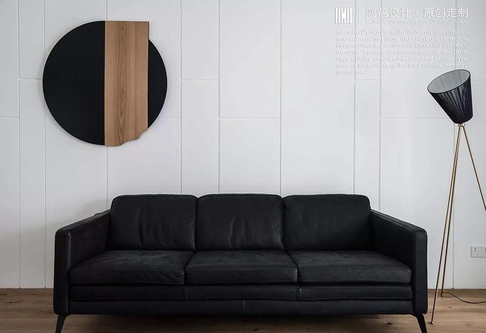 130㎡极简现代风沙发背景墙装修效果图