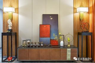 新中式风格四居装修电视柜设计图