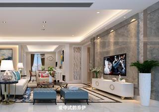 轻奢现代三居室客厅电视墙装修效果图
